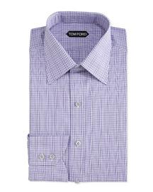 Check-Pattern Dress Shirt, Purple