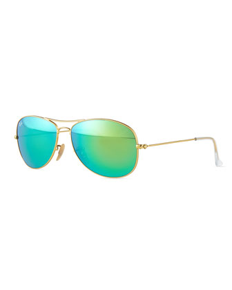 Cockpit Pilot Sunglasses, Gold/Green
