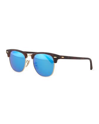 Clubmaster Half-Rimmed Sunglasses, Tortoise/Blue