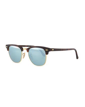 Clubmaster Half-Rimmed Sunglasses, Tortoise/Silver