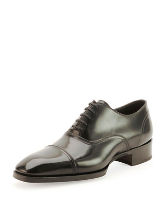 Gianni Cap-Toe Lace-Up Shoe, Black