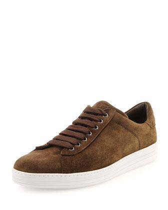 Russel Suede Low-Top Sneaker, Chocolate