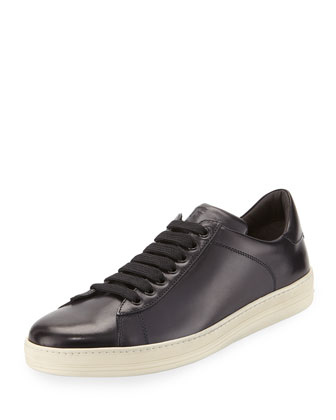 Russel Calf Leather Low-Top Sneaker, Navy