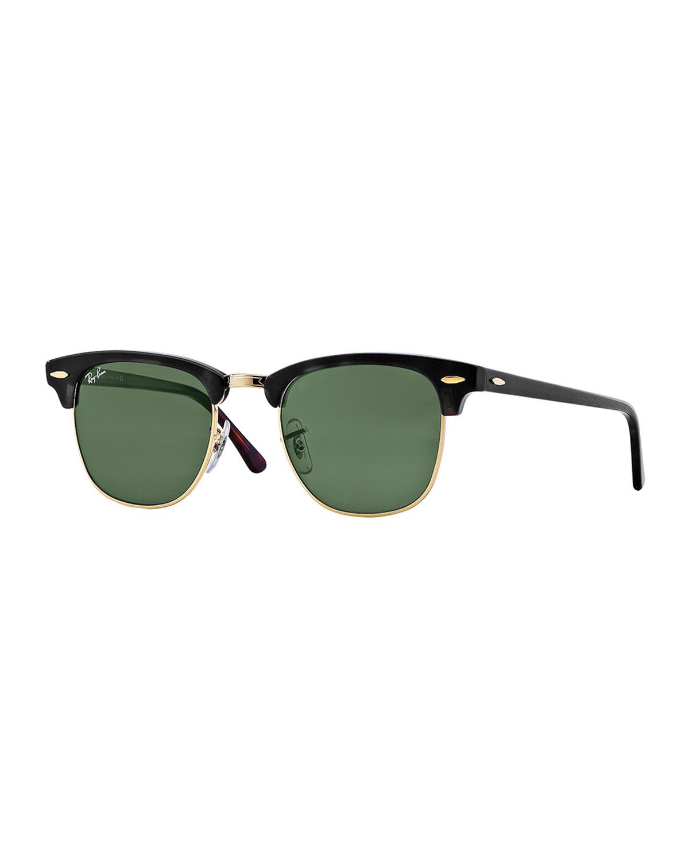 Ray-Ban Classic Clubmaster Sunglasses, Black/Green