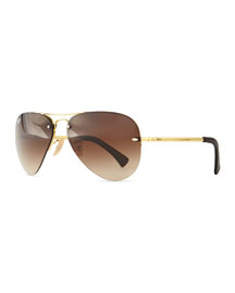 Semi-Rimless Aviator Sunglasses