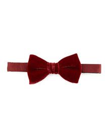Velvet Bow Tie, Burgundy