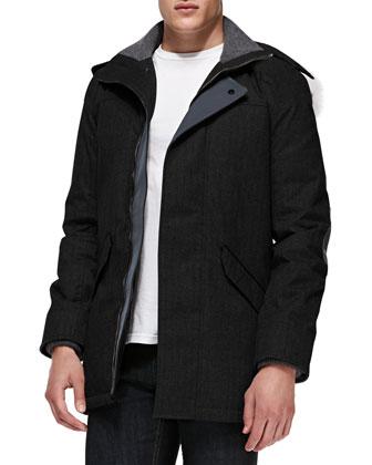 Branta Trento Parka with Fur Hood, Black