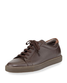 Lace-Front Leather Sneaker, Brown