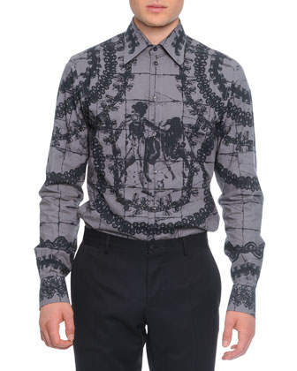 Button-Down Mosaic Bullfight-Print Shirt, Gray