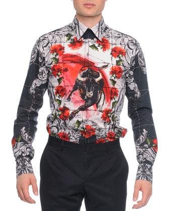 Button-Down Mosaic Bull-Print Shirt, White