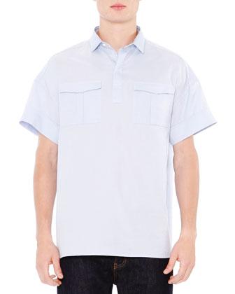 Oversized Oxford Short-Sleeve Shirt, Light Blue