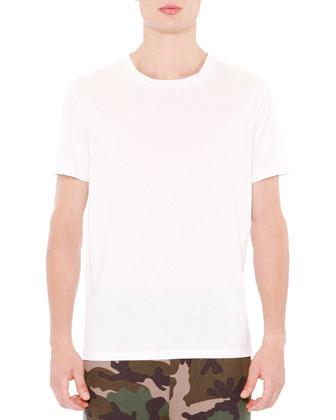 Basic Short Sleeve T-Shirt With Back Stud, White