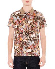 Multi-Butterfly Print Short-Sleeve Polo Shirt