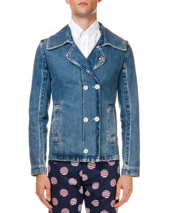 Double Button Fitted Denim Jacket, Light Blue