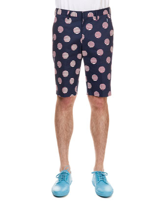 Flat-Front Striped and Dotted Shorts, Navy