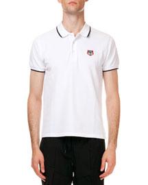 Tipped Tiger Short Sleeve Pique Polo, White