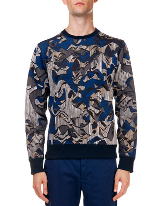 Multi-Print Crew Neck Sweater, Navy