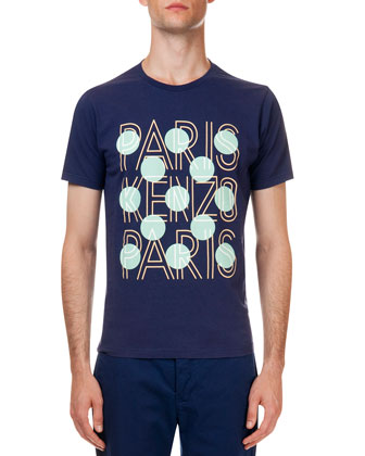 Paris Logo Dotted Tee, Navy