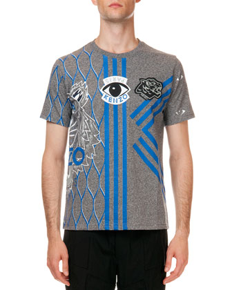 Embroidered Multi-Icon Short Sleeve T-Shirt, Gray/Blue