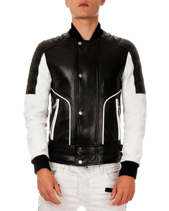 Colorblock Quilted Leather Jacket