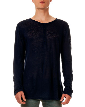 Long-Sleeve Henley Shirt, Navy