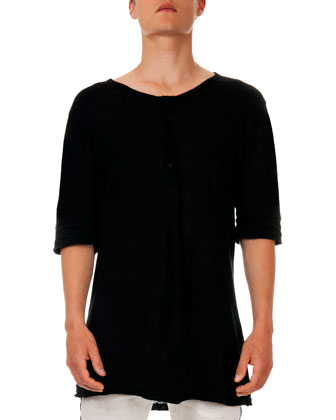 Short-Sleeve Henley Tee, Black