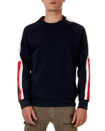 Sweatshirt with Striped Sleeves, Navy