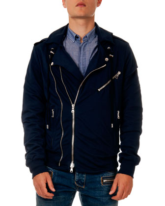 Double-Zip Biker Hoodie Jacket, Navy