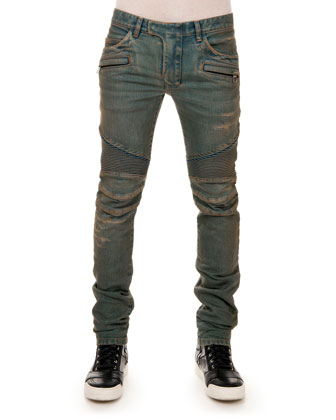 Distressed Biker Denim Jeans, Blue