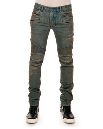 Distressed Biker Denim Jeans, Blue
