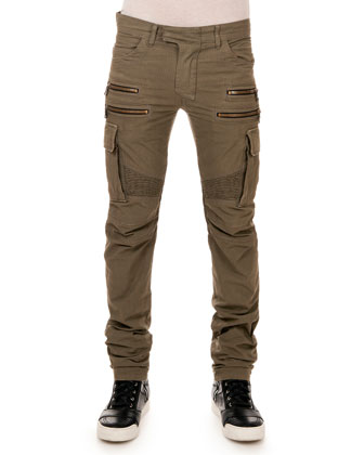 Cargo Biker Denim Pants, Khaki