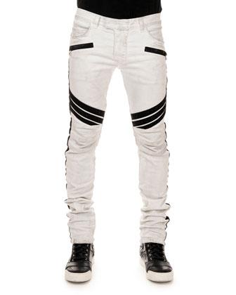 Stripe-Detail Biker Jeans