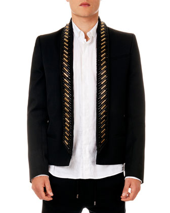 Embellished Shawl Collar Short Jacket