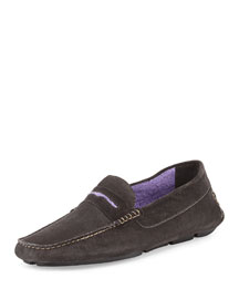 Roadster Men's Suede Driver Loafer, Dark Gray