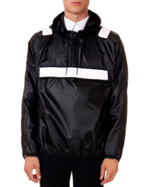 Hooded Pullover Jacket with Contrast Panels
