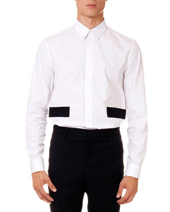 Poplin Shirt with Contrast Bands