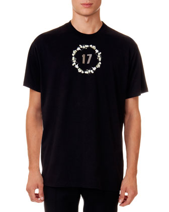 Short-Sleeve Tee with 17 Floral Crown Graphic, Black