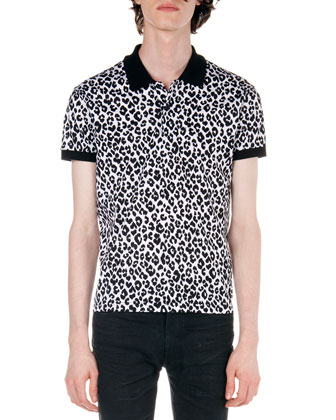 Leopard-Print Polo, Black/White