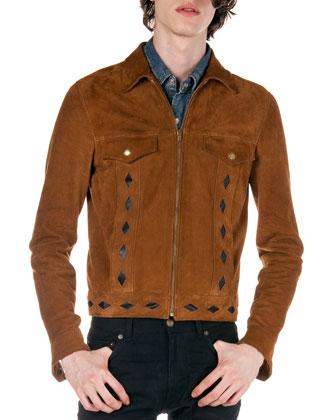 Diamond-Cutout Suede Jacket, Brown