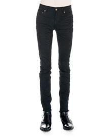 Frayed Hem Skinny Jeans, Black