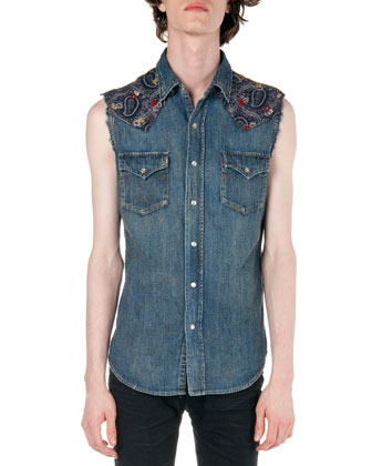 Denim Sleeveless Jacket with Paisley-Yoke