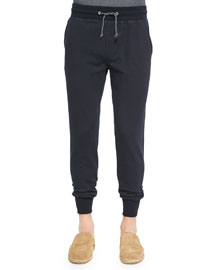Knit Drawstring Spa Pants, Navy