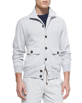 Spa Button-Front Cardigan, Gray