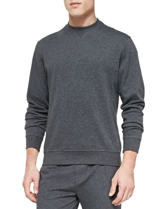 Spa Crewneck Knit Sweater, Charcoal
