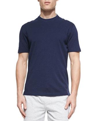 Cotton Crewneck Tee Shirt, Marine