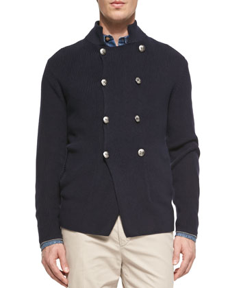 7-Gage Double-Breasted Sweater, Navy