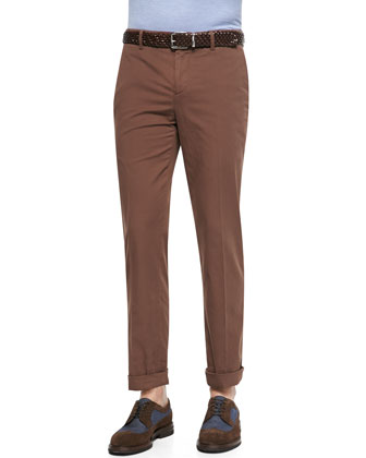 Flat-Front Trousers, Brown