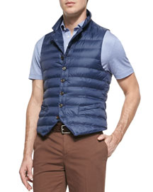 Quilted Notch-Lapel Vest, Chambray