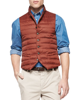 Nylon Notch-Lapel Vest, Dark Orange