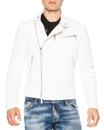 Asymmetrical Zip-Up Leather Moto Jacket, White